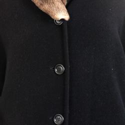 Max Mara Black Wool Coat with Fur Collar L