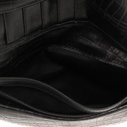 Max Mara Crocodile Print Leather Flap Wallet