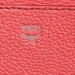 MCM Red Leather Small Milla Top Handle Bag