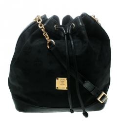 92b569722a2 MCM Black Visetos Nylon Drawstring Bucket Bag