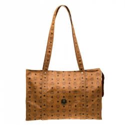 MCM Cognac Visetos Coated Canvas Extra Large Heritage Top Zip Shopper Tote