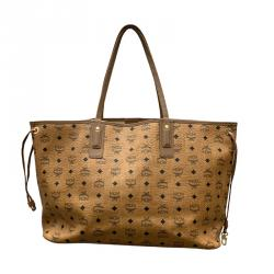 MCM Cognac Visetos Coated Canvas Shopping Tote