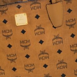 MCM Cognac Visetos Coated Canvas Tote