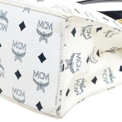 MCM White/Black Visetos Coated Canvas Chain Tote