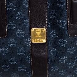 MCM Dark Grey/Brown Coated Canvas Reversible Shopper Tote