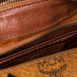 MCM Cognac Visetos Coated Canvas Small Heritage Boston Bag