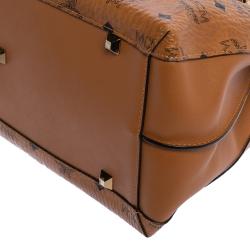 MCM Cognac Visetos Coated Canvas and Leather Klara Tote