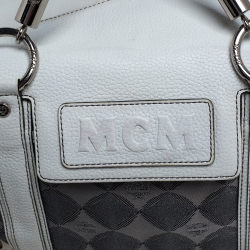 MCM White/Grey Printed Canvas and Leather Embossed Logo Pocket Tote