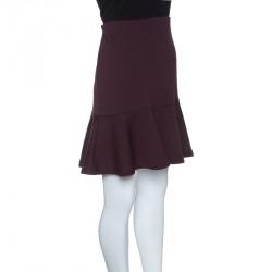 McQ by Alexander McQueen Burgundy Knit Peplum Mini Skirt L