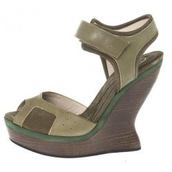 McQ by Alexander McQueen Nubuck and Leather Platform Wedge Sandals Size 39