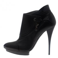McQ by Alexander McQueen Black Leather Biker Ankle Boots Size 40