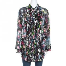 McQ by Alexander McQueen Multicolor Floral Print Silk Sheer Shirt L