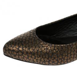 McQ by Alexander McQueen Bronze Embossed Ballet Flats Size 37