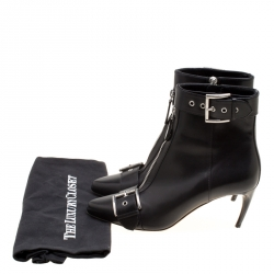 Alexander McQueen Black Leather Double Buckle Pointed Toe Ankle Boots Size 36.5