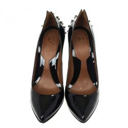 McQ by Alexander McQueen Black Patent Studded Pointed Toe Pumps Size 41
