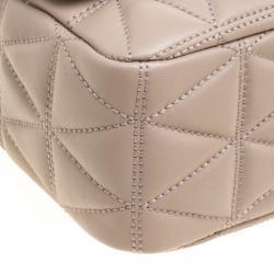 Michael Kors Beige Quilted Leather Large Sloan Studded Chain Shoulder Bag