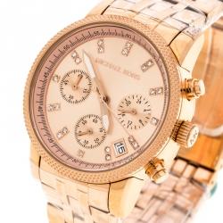 b3a4a9401cf Michael Kors Rose Gold Plated Stainless Steel Ritz MK6077 Women s Wristwatch  37 mm