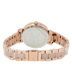 ساعة يد نسائية مايكل كورس سوفي أم كيه4336 كريستال ستانلس ستيل لون ذهبي وردي 36 مم