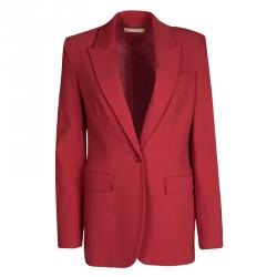 Michael Kors Crimson Red Wool Tailored Single Button Blazer S