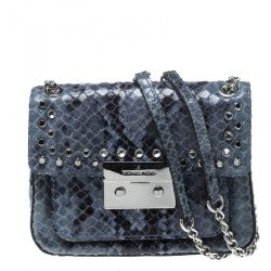 104fb9557a9c2e Michael Kors Aquamarine Python Embossed Leather Sloan Studded Shoulder Bag