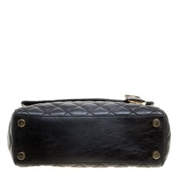 Michael Kors Black Quilted Leather Medium Ava Top Handle Bag
