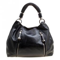 8b3c91736dad Michael Kors Black Leather Twisted Handle Hobo