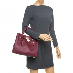3576e795962d8 Michael Michael Kors Burgundy Leather Hamilton Tote