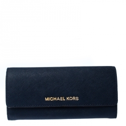Michael Kors Navy Blue Leather Flap Continental Wallet