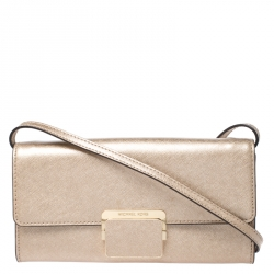Michael Kors Metallic Gold Saffiano Leather Strap Clutch