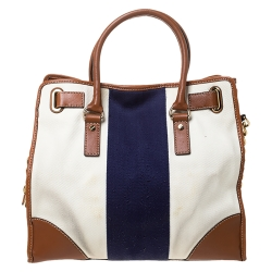MICHAEL Michael Kors Tri Color Canvas and Leather Large Hamilton North South Tote