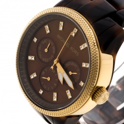 1827680a6 ساعة يد نسائية مايكل كورس جيت سيت Mk5038 ستيل مطلي ذهب طبقة ترتواز إكريليك  صدف بنية