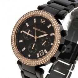 04f2ccb91 ساعة يد نسائية مايكل كورس باركر MK5885 فولاذ مطلي ذهب وردي وستانلس ستيل  سوداء 39 مم
