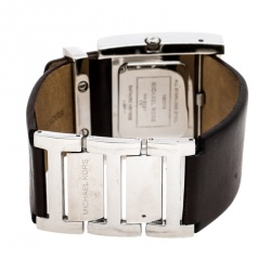 Michael Kors Silver White Stainless Steel Leather MK2121 Women's Wristwatch 37 mm