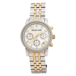 Michael Kors White Mother Of Pearl Two-Tone Stainless Steel Ritz MK5057 Women's Wristwatch 36 mm