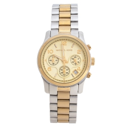 Michael Kors Yellow Gold Two Tone-Stainless Steel Runway MK5137 Women's Wristwatch 38 mm