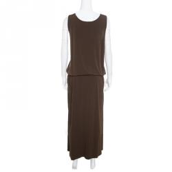 Michael Michael Kors Bark Brown Sleeveless Tank Maxi Dress XL