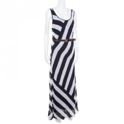 Michael Michael Kors Monochrome Striped Racerback Belted Maxi Dress XL