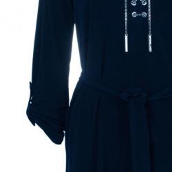 MICHAEL Michael Kors Navy Drawstring Detail Dress S