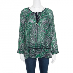 Michael Michael Kors Navy Blue and Green Paisley Printed Ladder Lace Insert Tie Detail Blouse M