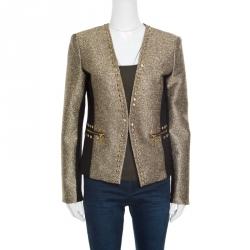 f639a0378d6c5 Michael Michael Kors Gold Contrast Paneled Embellished Front Open Blazer M