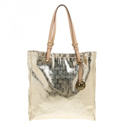 3eecffcd86521f Michael Michael Kors Pale Gold Monogram Patent Leather Jet Set North South  Tote