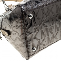 Michael Michael Kors Metallic Grey Mirror Signature Leather Satchel