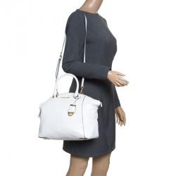 afa043a26365 MICHAEL Michael Kors White Leather Riley Top Handle Bag