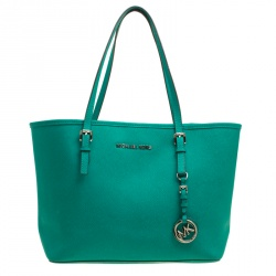 f8039dc818db Michael Michael Kors Green Saffiano Leather Jetset Tote