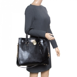 5bece1d80448c Michael Michael Kors Black Leather East West Hamilton Top Hanlde Bag