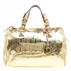 4fcd841f99b5 Michael Micahel Kors Metallic Gold Mirror Signature Leather Large Grayson  Satchel