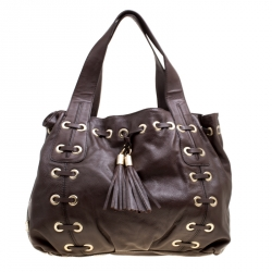 daf2afeaf84441 Michael Michael Kors Brown Leather Astor Grommet Drawstring Tote