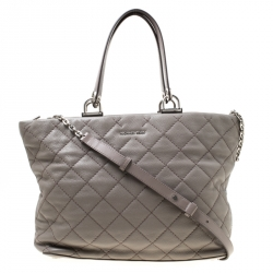 5b273469d9e6 Michael Michael Kors Grey Quilted Leather Large Loni East West Top Handle  Bag