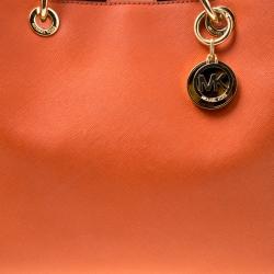 Michael Michael Kors Orange Leather Medium Cynthia Tote