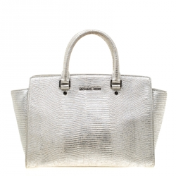 6b782db576a787 Michael Michael Kors Silver Lizard Embossed Leather Medium Selma Tote
